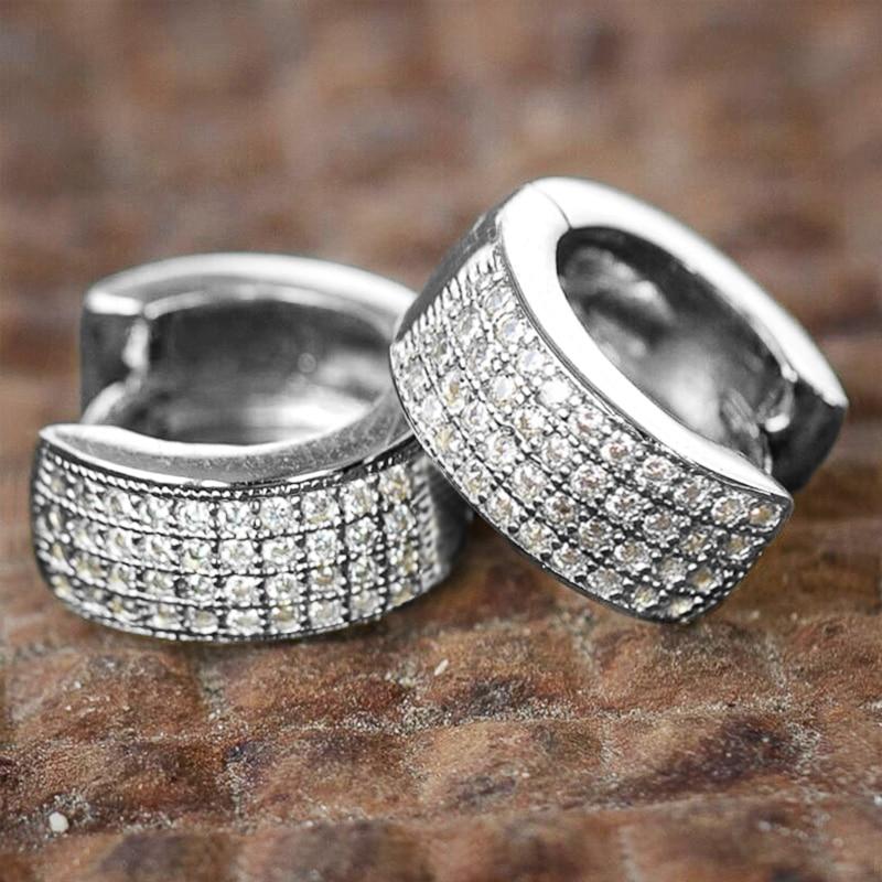 Huitan маленькие круглые серьги-кольца для мужчин/женщин, блестящие белые циркониевые простые Стильные повседневные носимые серьги унисекс, м...