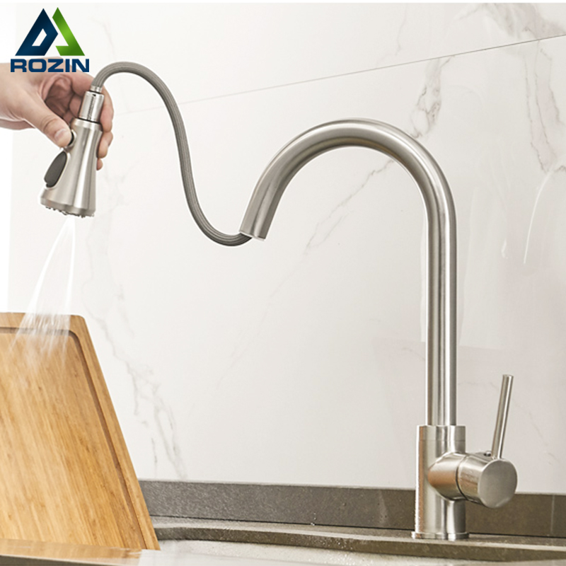 Rozin Brushed Nickel Kitchen Faucets Third Generation Pull Out Kitchen Mixer Facuet 3 Outlet Water Mode Spout Hot Cold Mixer Tap