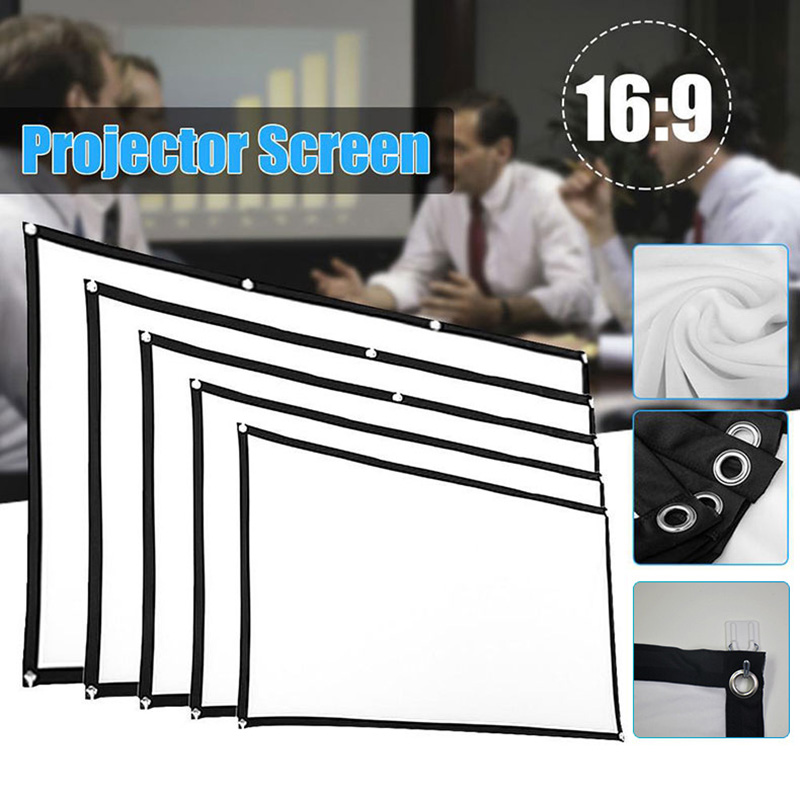 ZK20 60/72/84/100/120/150inch 3D HD Projector Screen 16:9 Anti-Crease Projection Movies Screen For Home Outdoor With Pack Hooks