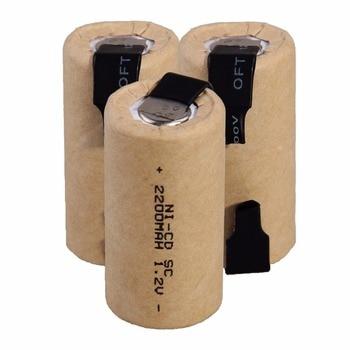 2-20 adet SC Nicd pil 1.2v 2200mah Sub C ni-cd şarj edilebilir pil SC Batteria elektrikli tornavida matkaplar güç araçları