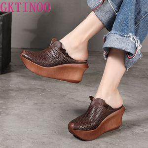 Gktinoo mules 9 cm de couro das mulheres salto alto cunha chinelos plataforma artesanal chinelos couro genuíno sapatos café 2020