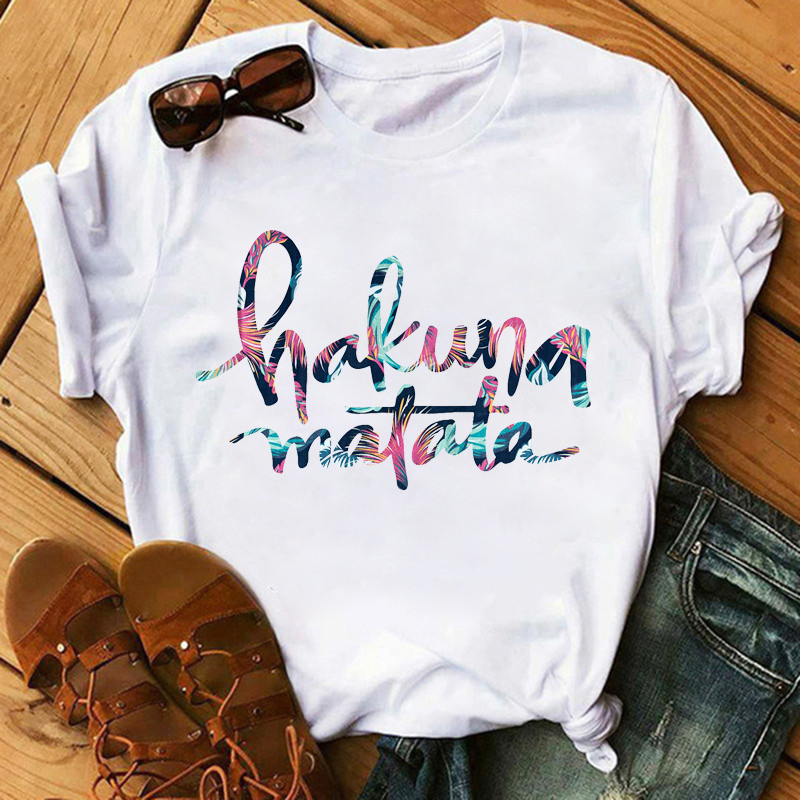 Maycaur Summer Fashion Letter T-shirt Lion King Cartoon Printed T Shirt Women Harajuku Casual Tshirt Female Graphic Cute Tee Top
