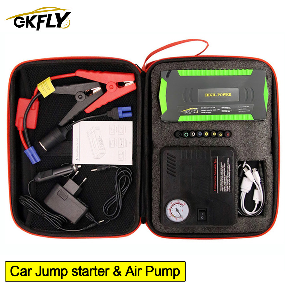 GKFLY High Power Car Jump Starter Air Pump Compressor 600A Starting Device Cables 12V Portable Car Battery Booster Charger LED