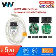 Mini vci para toyota tis techstream v15.00.028 minivci ftdi para j2534 scanner automático obd obd2 carro diagnóstico cabo MINI-VCI cabo