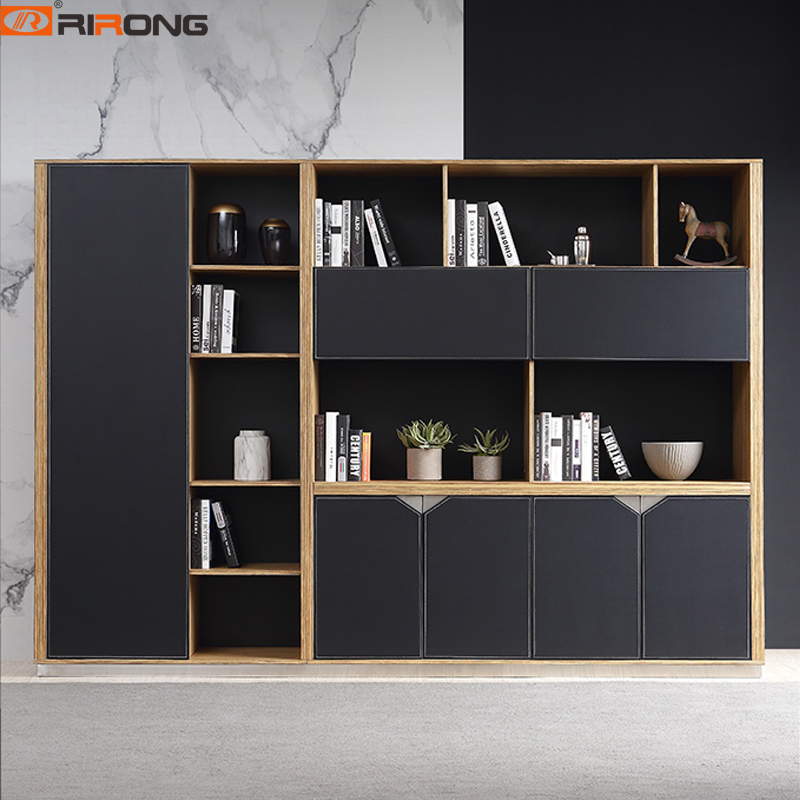Black Color Leather  Wooden Office Furniture Executive Boss Office  Custom Bookcase Filing Cabinet Furniture