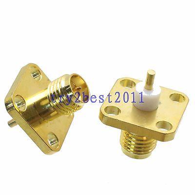 DHL/EMS 100 Sets*1pce Connector RP-SMA Plug Pin 4-holes Flange Solder Panel Mount PTFE Straight -C1