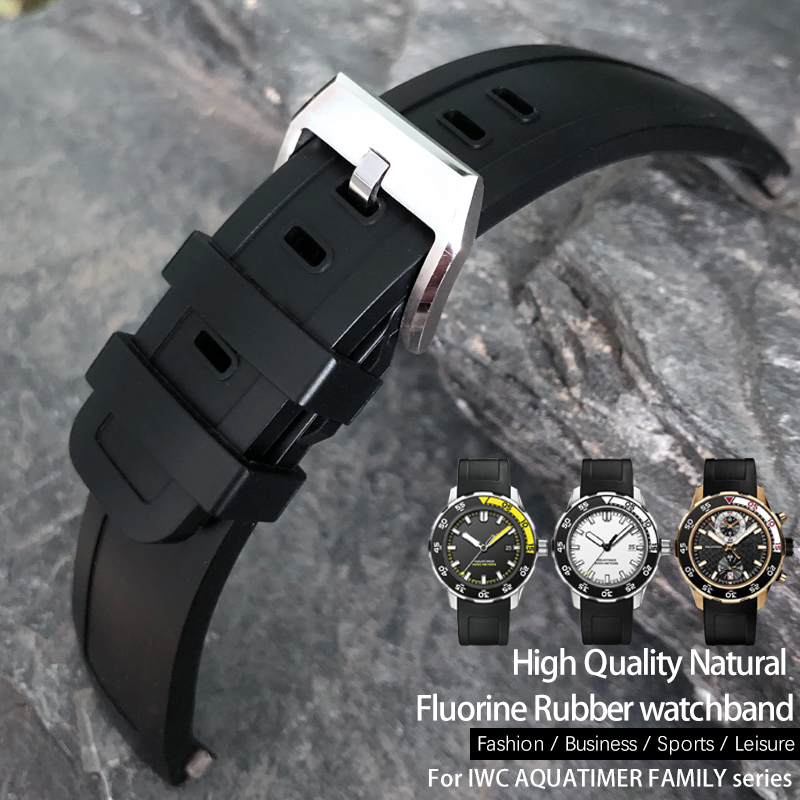 22mm High Quality Fluororubber Watch Strap Soft Watchband for IWC AQUATIMER FAMILY Series Watch IW356802/376705/376710/376711