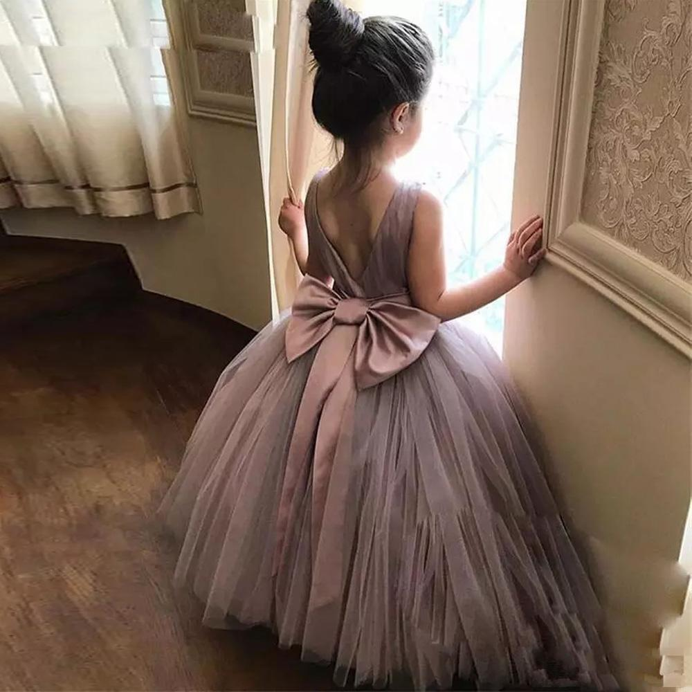 Flower Girl Dresses For Weddings Kids Puffy Soft Tulle Skirt Ball Gown Pageant Girls Dress Bow Ribbon Communion Party Dresses