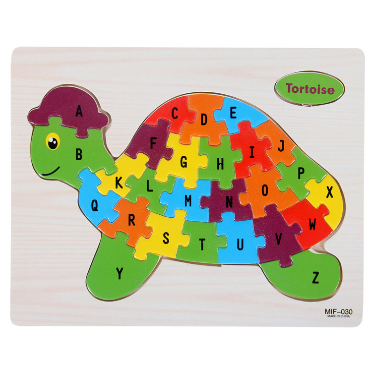 Kids Intelligence Baby Toy Wood Puzzles Cognition English Letter Building Wooden Animal Jigsaw Puzzle Toys for Children Toddler 9