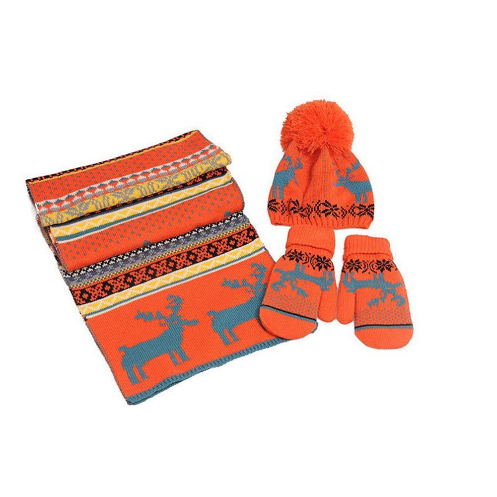 Winter Women's Scarf Gloves Hat Set Christmas Deer Warm Scarf Hat Gloves Set Women's Hats Scarf Sets For Women's Caps Gift Set