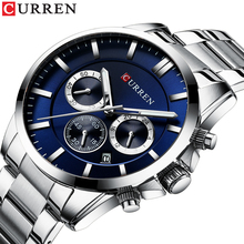 CURREN Fashion Mens Watch 2019 New Collection Business Male Watches Chronograph Calendar Water Resistant Display Quartz Men Wrist Luminous Hands Big Blue Dial Silver Stainless Steel Relogio Masculino