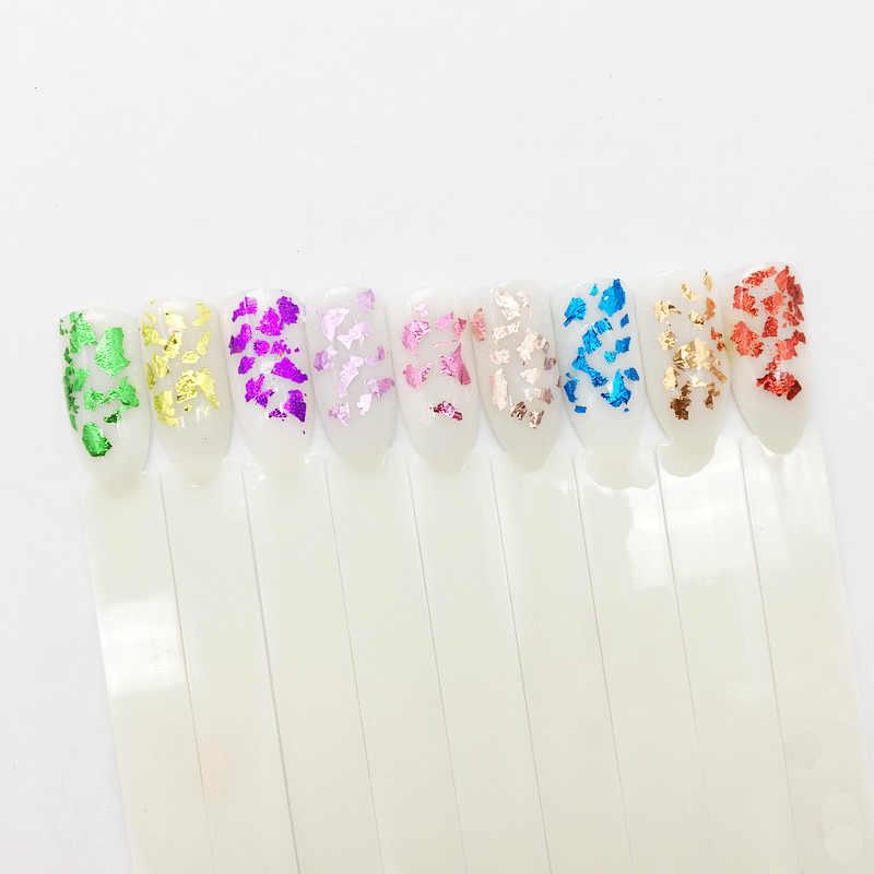 Glitter สีสันอลูมิเนียมฟอยล์ 3D Flake Nail Art สติกเกอร์ UV GEL ฝาครอบเลเซอร์ DIY เล็บเครื่องมือตกแต่งเล็บ
