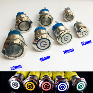 12/16/19/22mm Waterproof Metal Push Button Switch LED Light Momentary Latching Car Engine Power Switch 5V 12V 24V 220V Red Blue