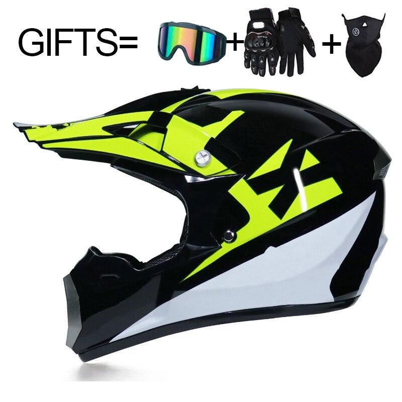 3 Gifts Racing Off-road Full Face Scooter Motorcycle Helmet Motocross Riding Dirt Bike Helmet DOT Moto Casco Vintage Casco Moto