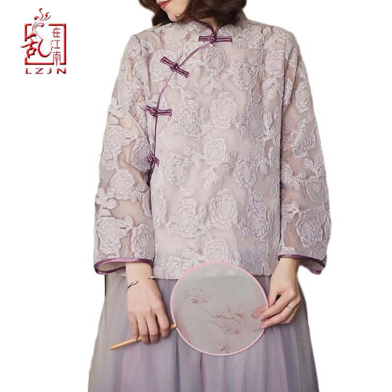 LZJN femmes dentelle Blouse 2019 printemps automne femmes col montant hauts traditionnel chinois Cheongsam Top Qipao dentelle chemise
