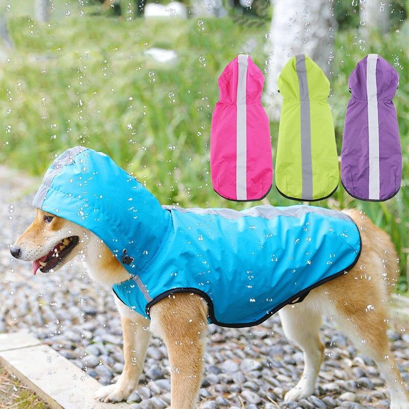 Waterproof Pet small Dog Raincoat Large Dog Clothes Outdoor Vest Coat doggie hooded Rain Jacket Reflective Big dog poncho mesh