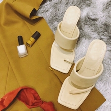 WEIBATE 2020 Summer New Clip-toe High-heeled Slippers Women Wear Fashion Square-toed Fine-heeled Sandals and Slippers Plus Size apricot contrast point toe pu heeled slippers