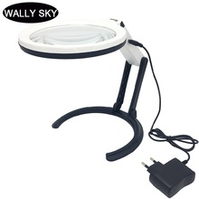 LED Plug-in Desktop Handhald Magnifier Dual-purpose Magnifying Glass Foldable Reading Magnifier Bifocal Lens Embroidery Loupe