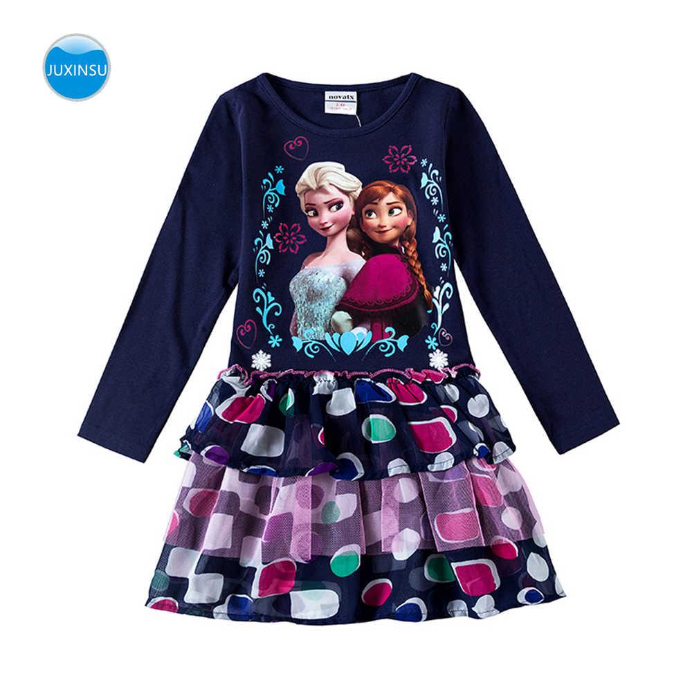 JUXINSU Kızlar Dondurulmuş Karikatür pamuklu uzun kollutişört Zarif Elbiseler Dalga Noktası Cupcake Elbise Sonbahar Kış için Bebek Kız 2-6 Yıl