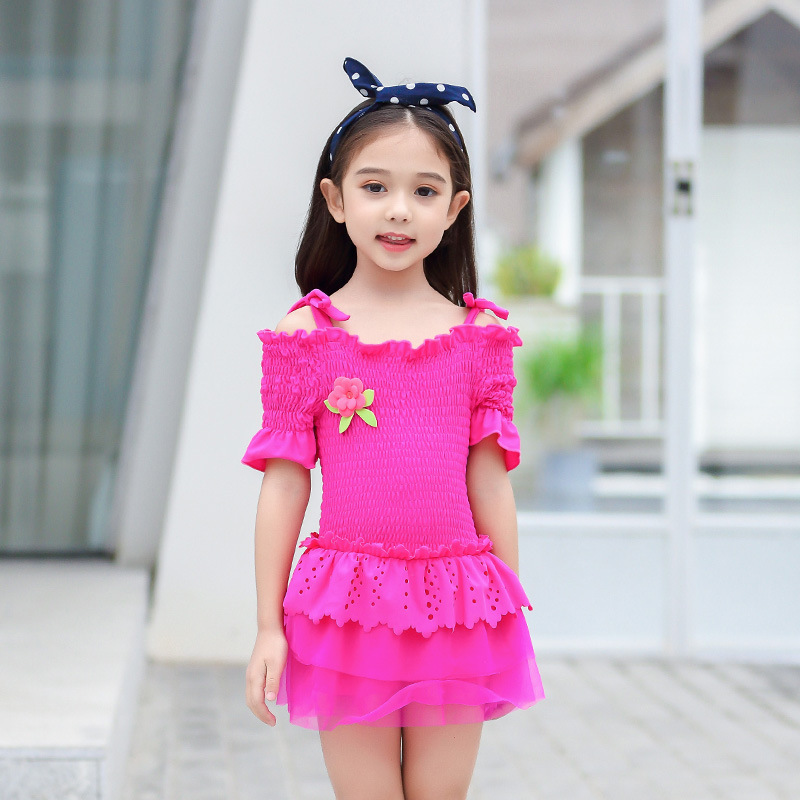 KID'S Swimwear GIRL'S Swimsuit Cute Big Boy South Korea Students Dress-Parent And Child Hot Springs Tour Bathing Suit