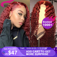 13x6 Lace Front wig Human Hair Wigs Burgundy Colored Brazilian Wigs Human Hair Curly 180% Lace Frontal Wigs For Black Woman
