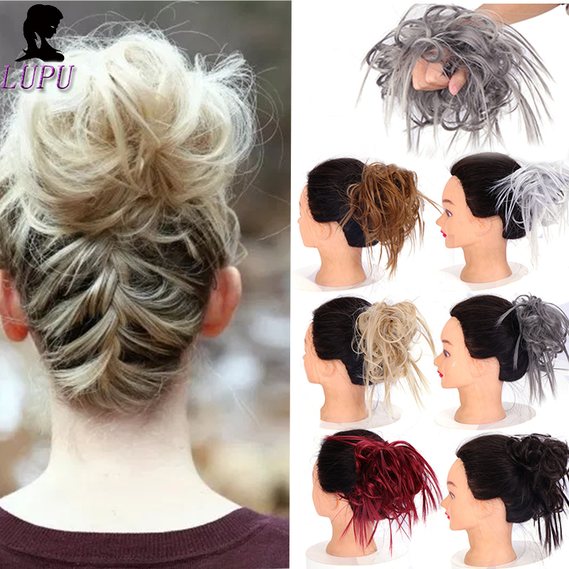 LUPU 11 Colors Womens Messy Chignon Synthetic Elastic Band Scrunchie Hair Bun Black Brown Hairpieces Heat Resistant