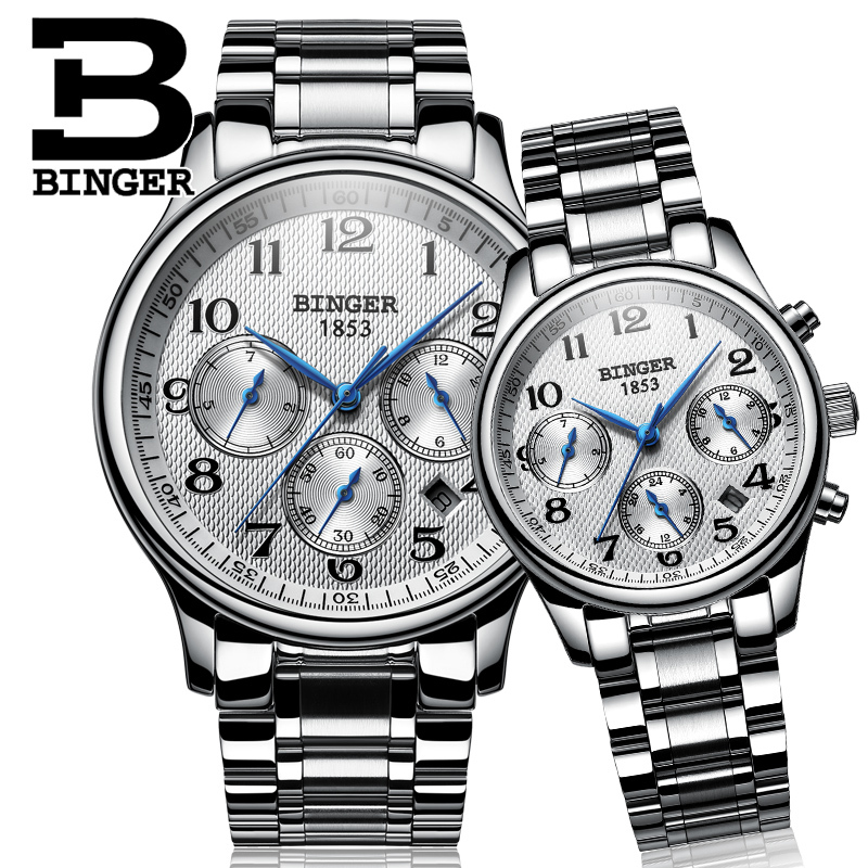 Switzerland Watches Couples' Luxury Brand BINGER Men's Mechanical And Women's Quartz Wristwatches Sapphire Waterproof B-603MW