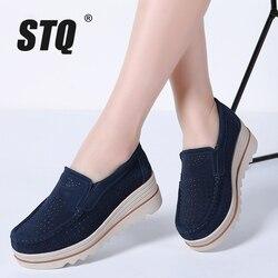 STQ 2019 Outono mulheres sapatos flats tênis de plataforma sapatos de couro camurça sapatos casuais deslizar sobre apartamentos saltos trepadeiras mocassins 3088