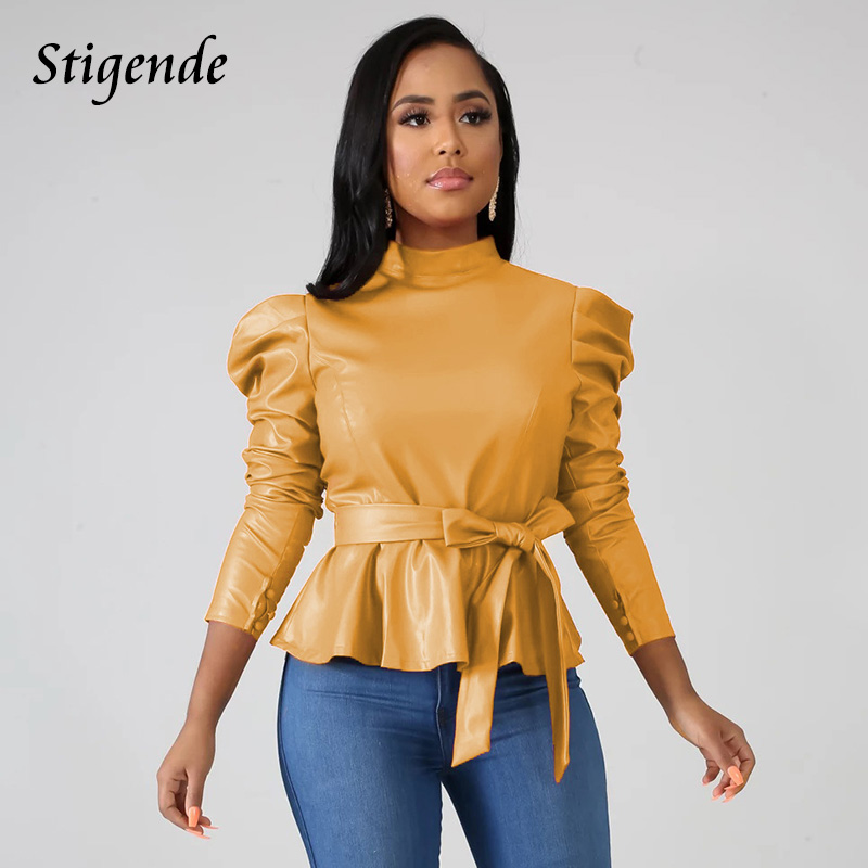 Stigende Women Long Sleeve Leather Pu Blouse Shirt Casual Solid Color Stand Neck Ruffle Shirts Autumn Faux Leather Frill Blouse