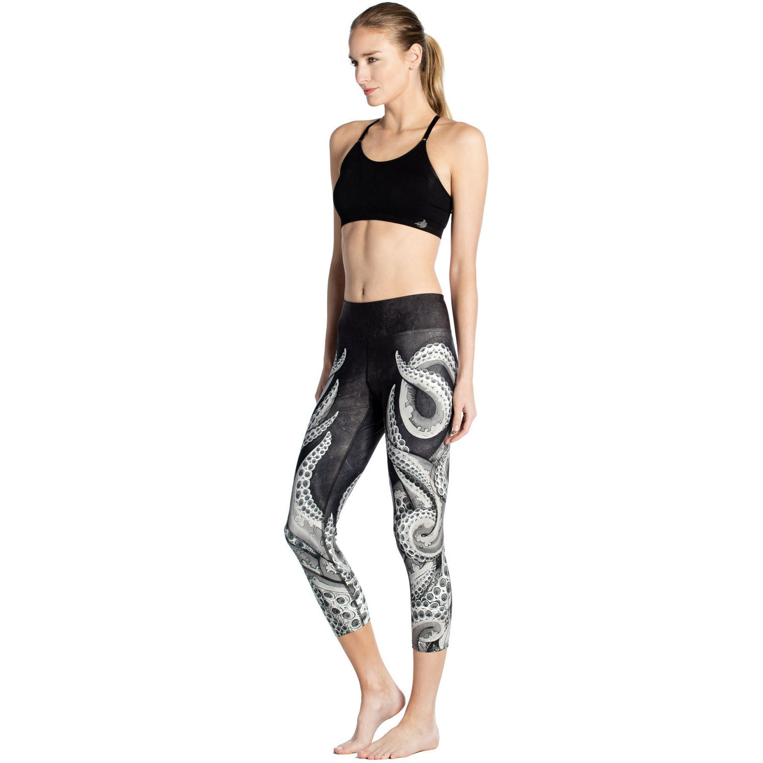 Octopus Black Bottom New Slim S Breath Running Sweat Absorbing Women's Seven-point Lady Pants Leggings