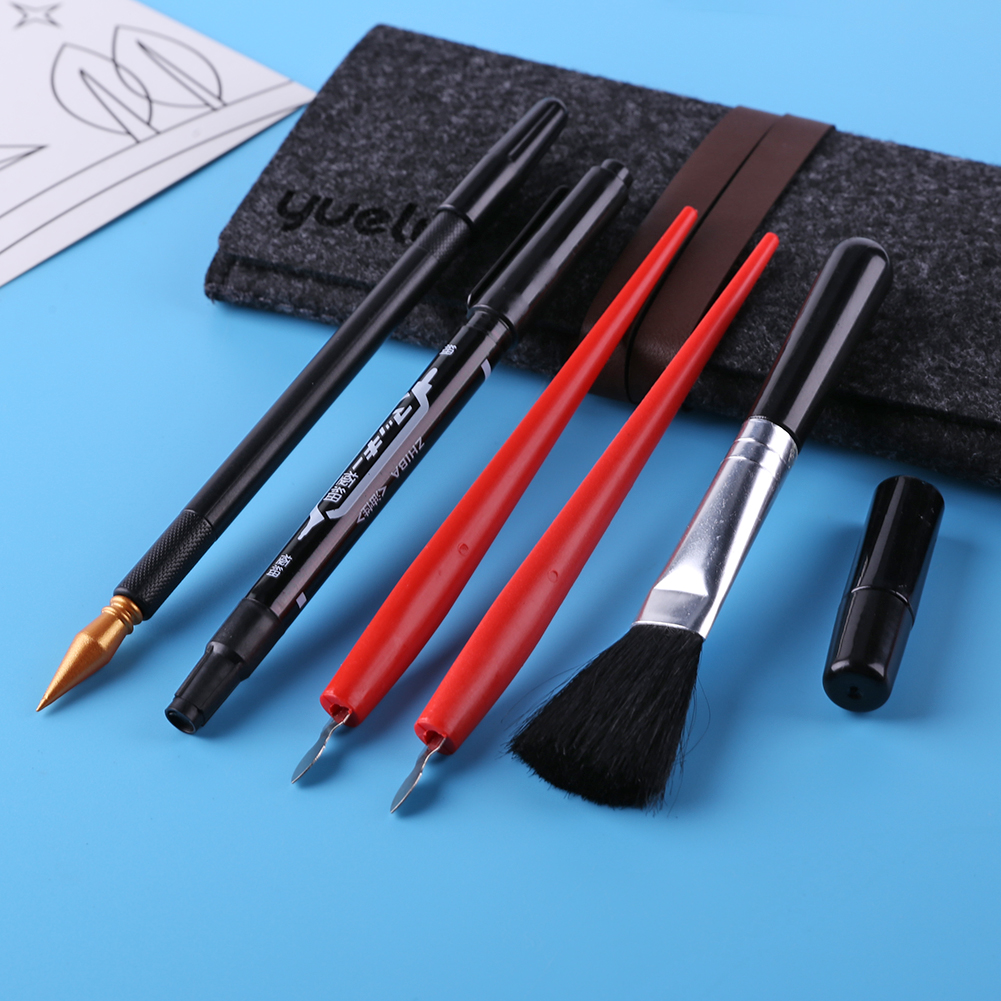 5 pçs pintura desenho scratch arts conjunto com vara raspador caneta escova preta para scratch esboço arte papéis placas ferramentas diy presente