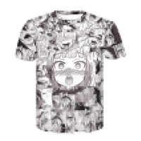 Ahegao-Camiseta de manga corta para hombre y mujer