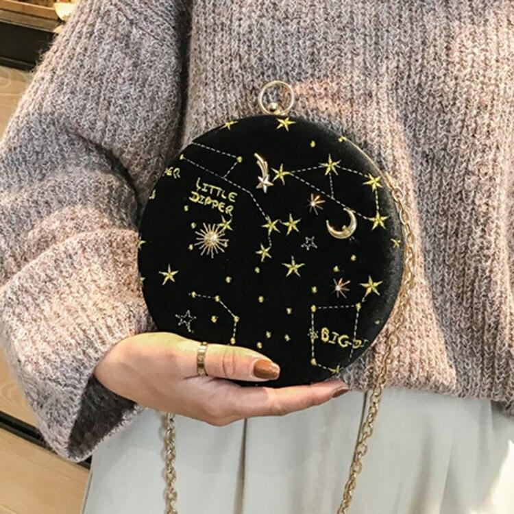Céu estrelado circular moda camurça bolsa de