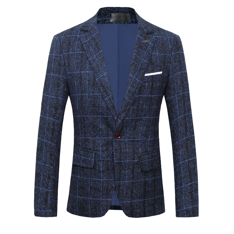 Autumn and winter men Suit Jacket, high quality mens Blazer coat large size Business Casual Striped plaid jackets and coats