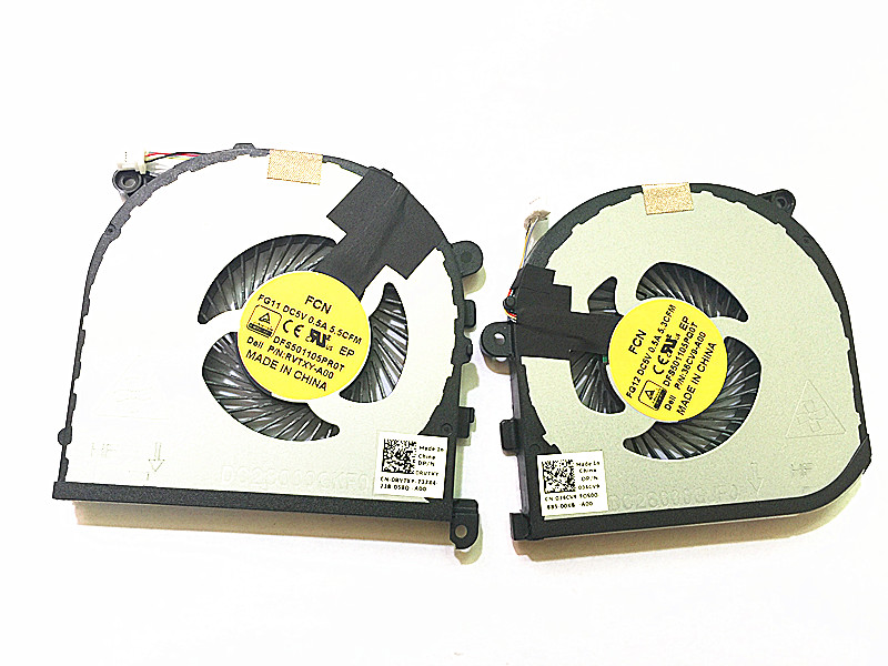 Original New laptop CPU GPU Cooling fan for <font><b>Dell</b></font> <font><b>XPS</b></font> 15 <font><b>9550</b></font> Series DFS501105PR0T DFS501105PQ0T 0RVTXY 036CV9 image