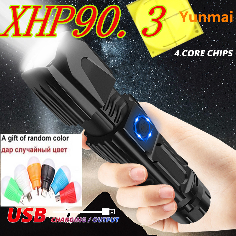 Highest Lumens Most Powerful XHP90 LED Flashlight Zoom Tactical XLamp 90.2 Torch Waterproof Lamp Use 26650 Battery For Hunting