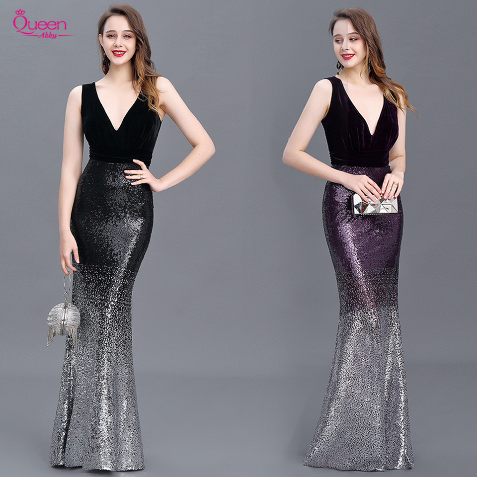 Sequin Evening Dress Mermaid Double V Neck Floor Length Sleeveless Elegant Evening Party Gowns 2020 New Dress Queen Abby