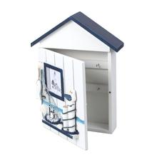 Mediterranean House Key Locker Case Wall-Mounted Wooden Storage Box Creative Home Wall Decoration Decor