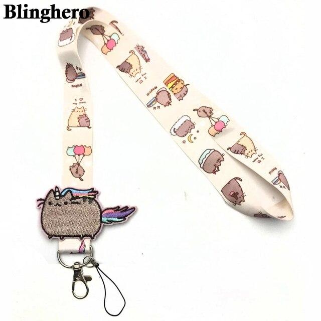CA698 Wholesale 20pcs/lot Cute Cat key lanyard ID Badge Holder Animal Mobile Phone Neck Strap With Key Ring 1PCS 3