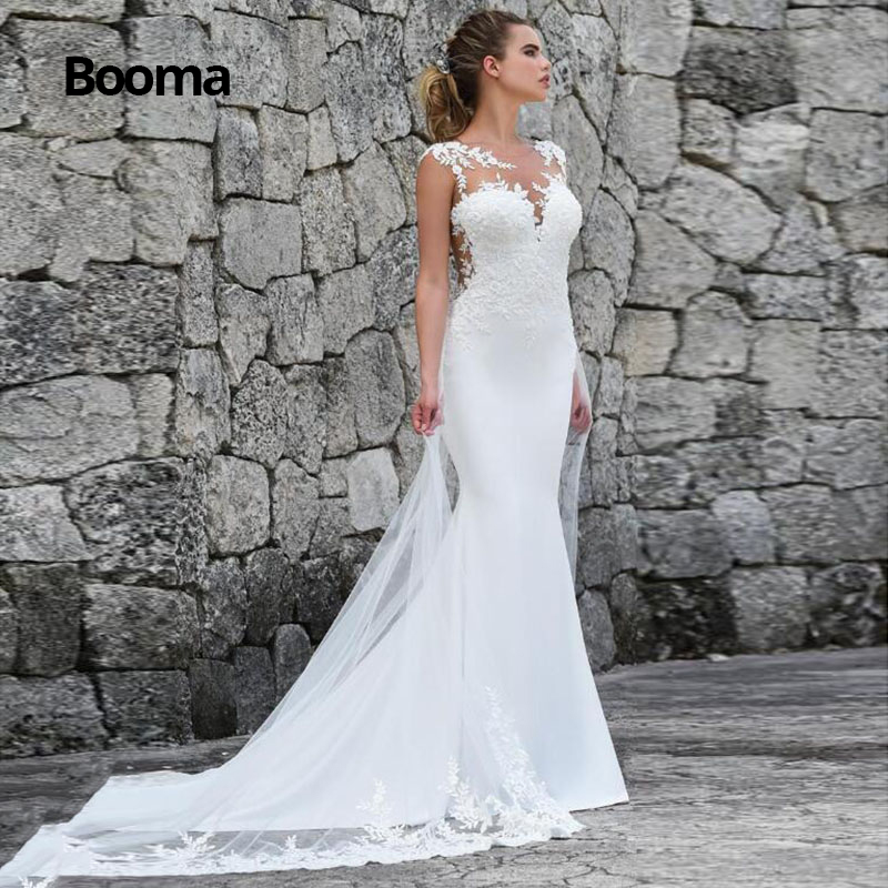 Booma Mermaid Wedding Dresses Turkey 2019 Lace Appliques Bridal Dress Custom Made Wedding Gown Vestidos De Noiva Plus Size