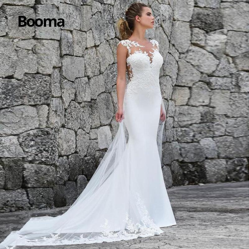 Booma Mermaid Wedding Dresses Turkey 2019 Lace Appliques Bridal Dress Custom Made Wedding Gown Vestidos De Noiva Plus Size