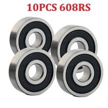 цена на 10PCS 608RS Ball Bearing ABEC-5 8X22X7mm Deep Groove Steel Sealed Bearings 608RS Z3V3 608-2RS 608rs Bearing