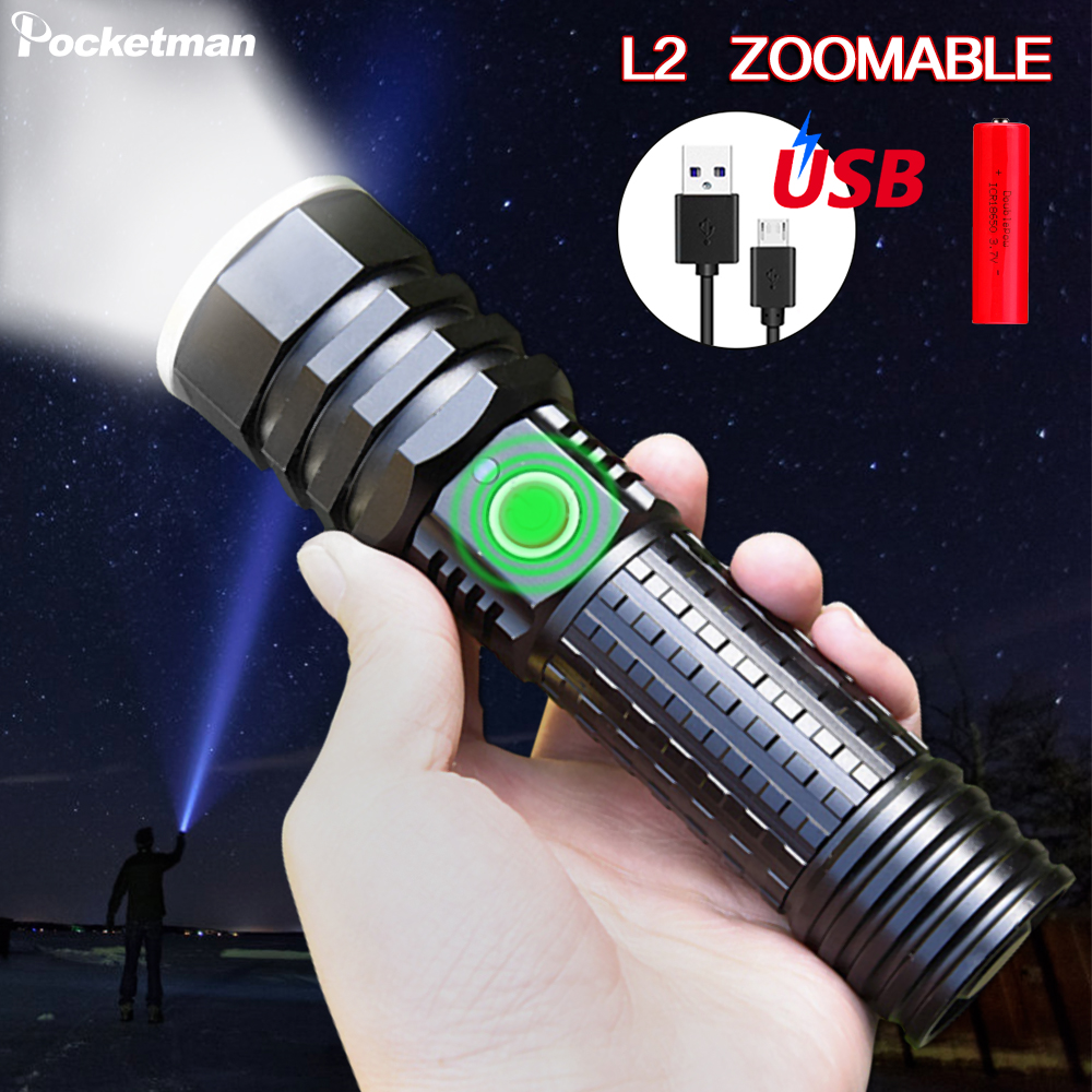 Super Bright 7000LM <font><b>Led</b></font> Flashlight USB Rechargeable Flash light torch Zoomable <font><b>Linterna</b></font> Waterproof Bicycle Light 18650 or <font><b>26650</b></font> image