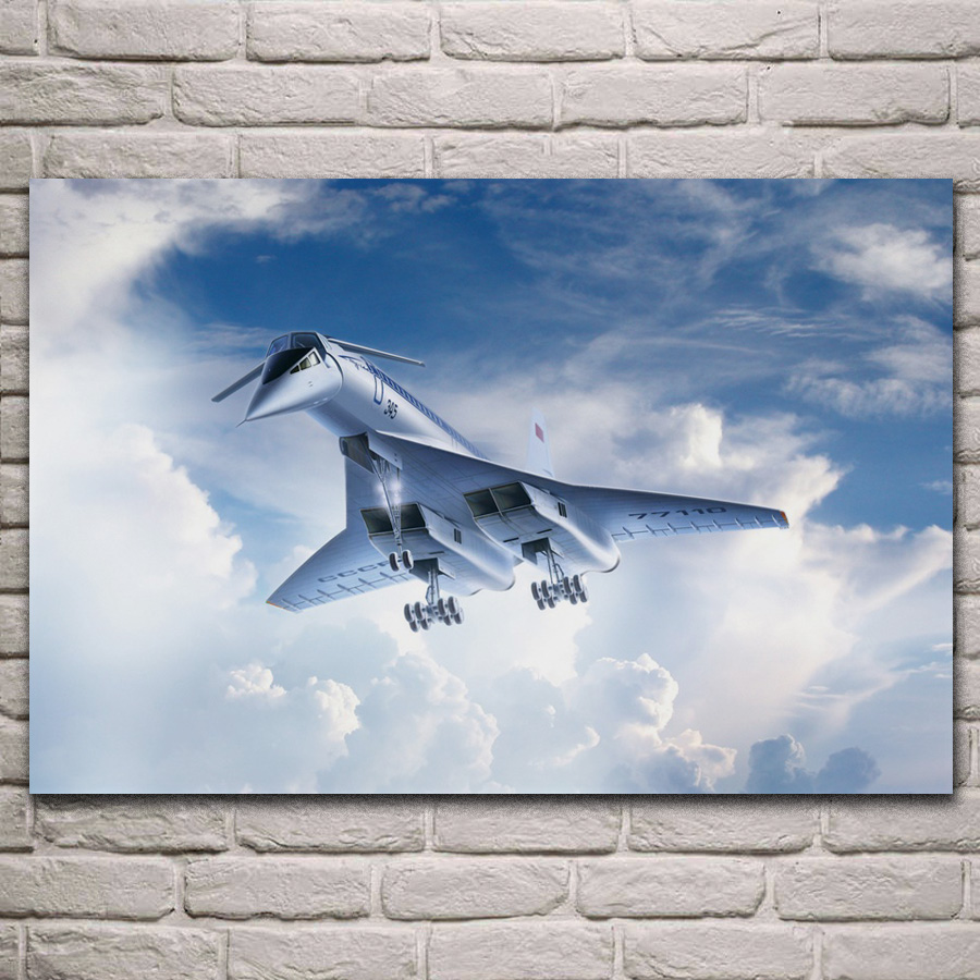 Supersonic <font><b>tupolev</b></font> tu 144 aircraft fabric poster living room home wall decorative canvas silk art prints KL637 image