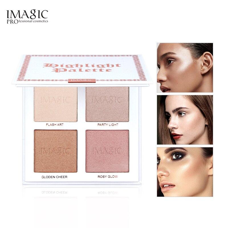 Imagic highlighter pó paleta shimmer rosto contorno destaque rosto bronzer maquiagem 4 cores highlighter iluminar a pele