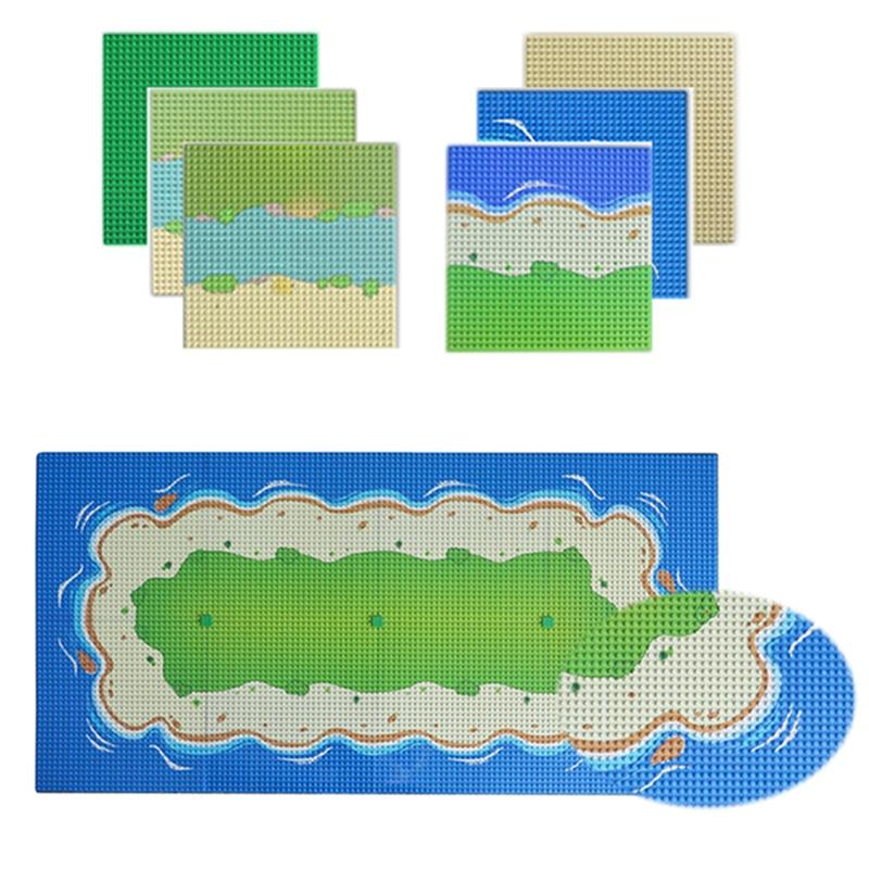 Composable Building Blocks Base Plate City Colorful River Sandy Beach Island BasePlate Seaside Compatible Legoinglys