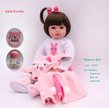 19 inch 47 cm newborn baby doll bebe reborn soft silicone doll wholesale toy children Christmas gift