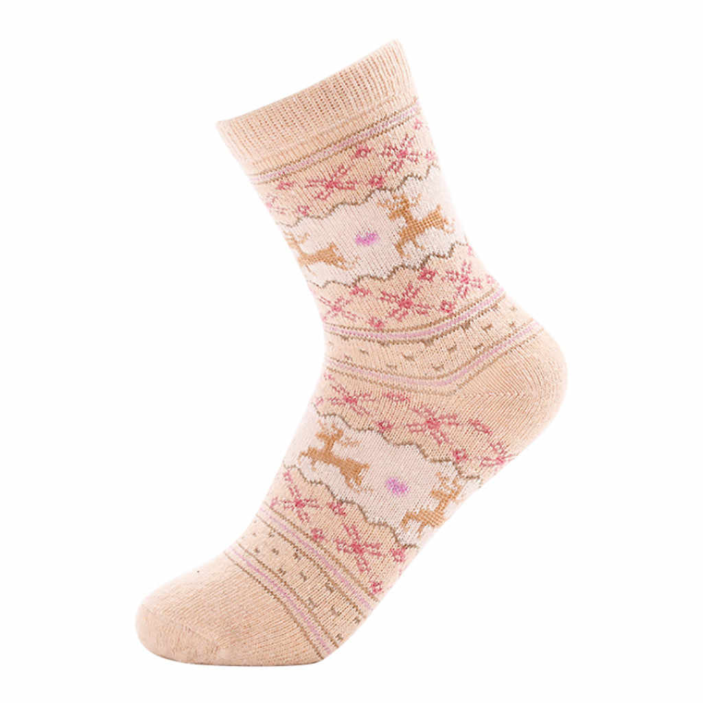 5 пар, зимние носки, носки средней длины, Ретро стиль, Хлопковые женские теплые чулки, повседневные женские носки, теплые домашние чулки, Jibbitz Croc #25