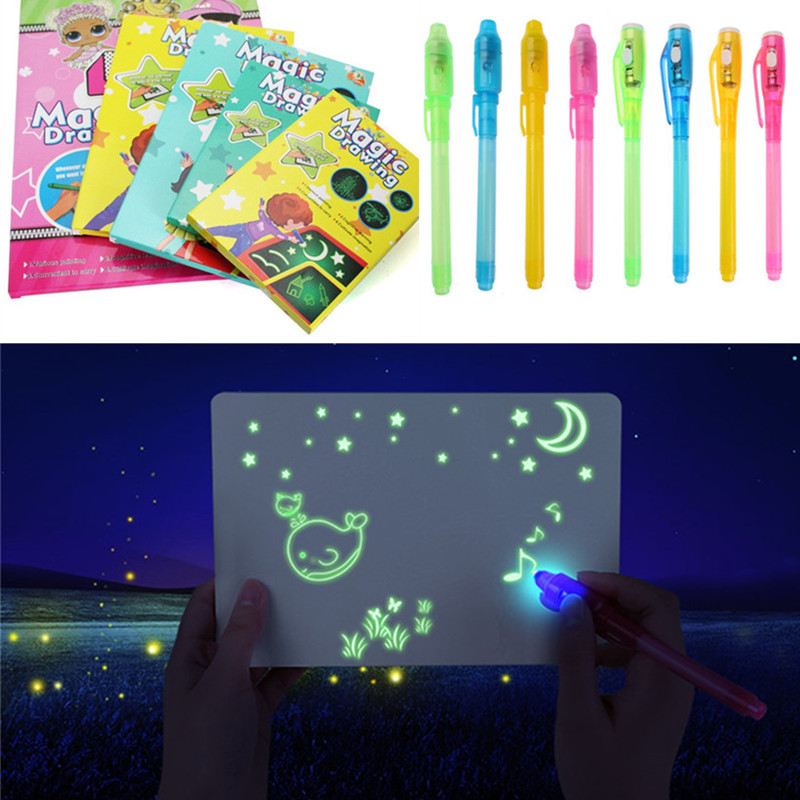 1PC A4 A5 LED Luminous Drawing Board Graffiti Doodle Drawing Tablet Magic Draw With Light-Fun Fluorescent Pen Educational Toys