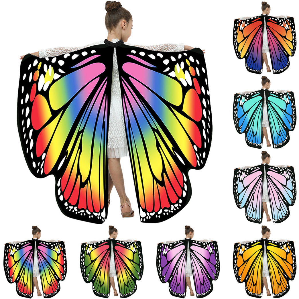 Gofuly Wings Christmas Print Shawl Kids Boys Girls Butterfly Wings Shawl Ladies Cloak Cape Costume Accessory Cospaly Party